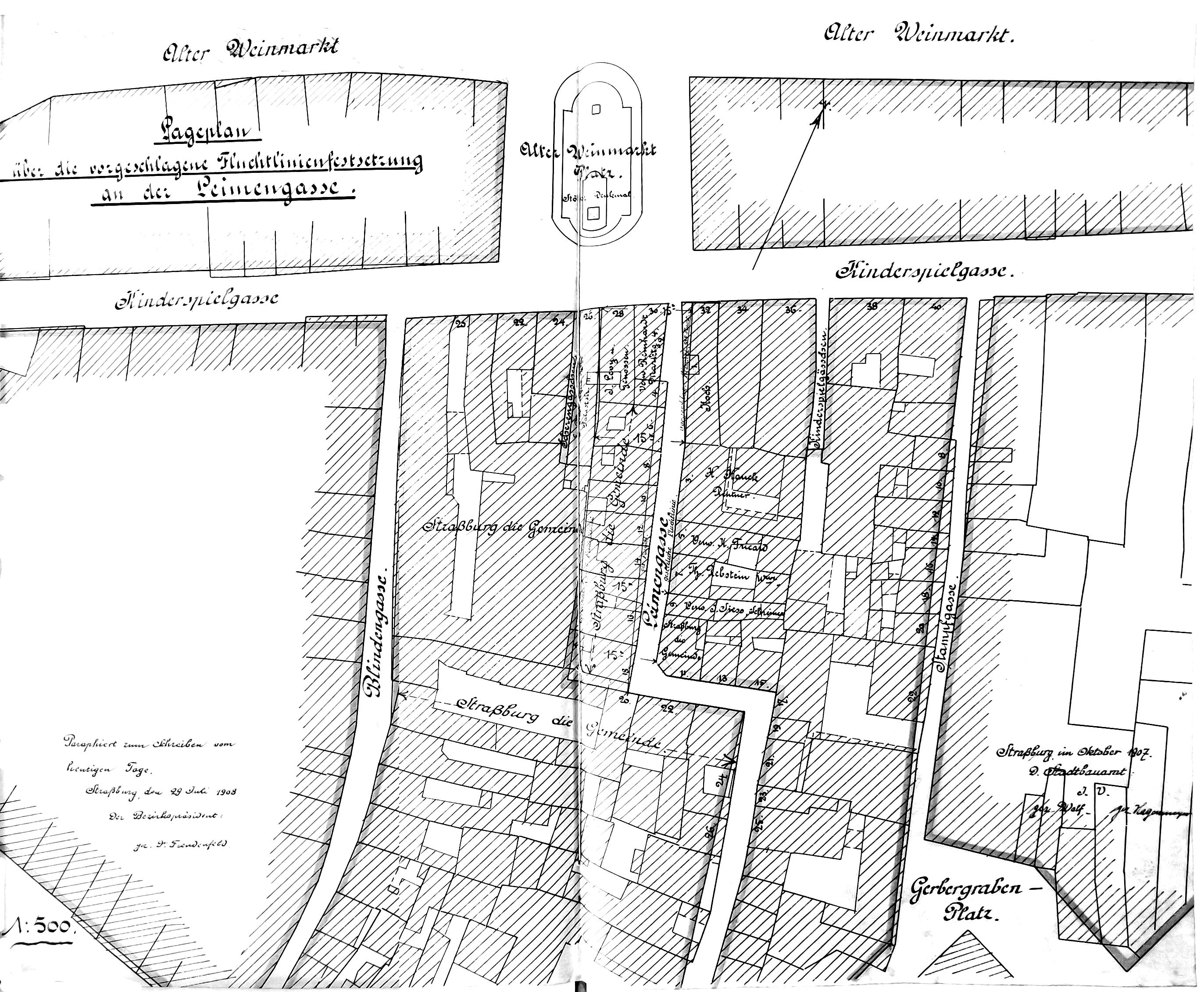 Plan Du Nouvel Alignement Dans La Partie Bord De Rue LArgile Aujourdhui Gustave Dore Paraphe Par Le Fonde Pouvoir Prefet