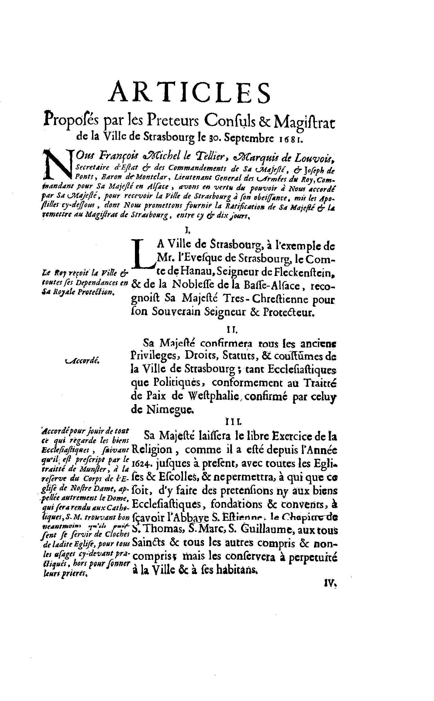 Capitulation 30 Septembre 1681