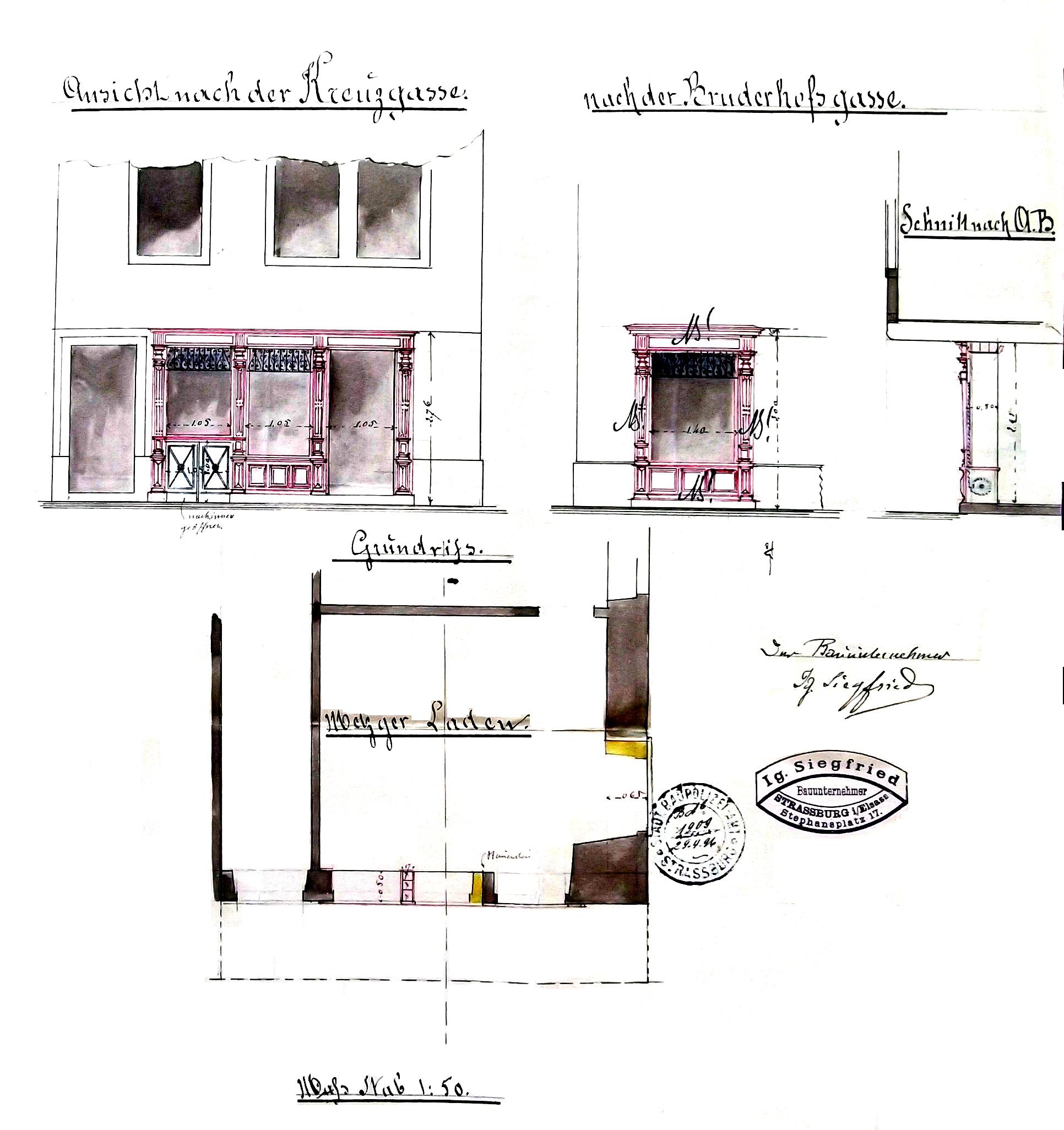 Devantures rue de la croix et rue des frères coupe et plan du rez de chaussée 1896 dossier de la police du bâtiment